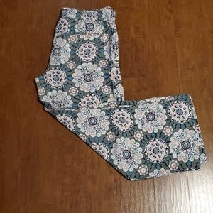 LOFT Wide Leg Floral Pants, Large